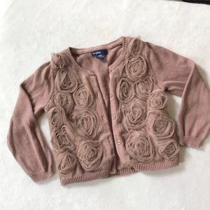 Baby gap knit sweater cardigan, mauve/blush